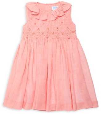 Luli And Me Little Girl's Floral-Embroidered Smock Voile A-Line Dress
