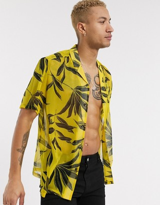 ASOS DESIGN revere collar regular fit sheer palm floral shirt in yellow