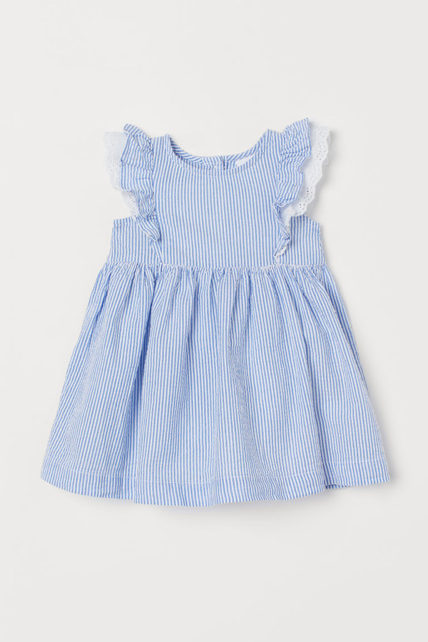 H&M Ruffled Cotton Dress - Blue