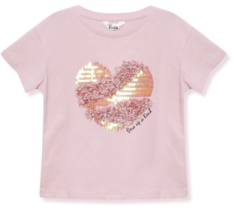 M&Co Sequin heart t-shirt (3-12yrs)