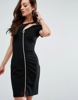 Versace Zip Front Cut Out Bodycon Dress