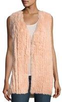 Neiman Marcus Fox Fur Vest w/ Sequin-Trim Cashmere Back