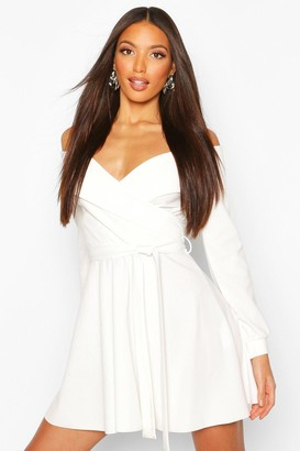 boohoo Tall Off The Shoulder Belted Skater Dress