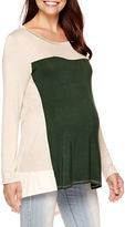 JCPenney DQT Maternity Long-Sleeve Colorblock High-Low Tunic - Plus