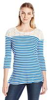 NY Collection Women's Striped Elbow Sleeve High Low Hem Top with Lace Yoke