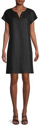 Pure Navy Split-Neck Linen Shift Dress