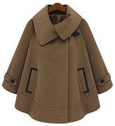 Chouyatou Women's Thicken Lapel Collar Batwing Poncho Warm Cloak Cape Coat