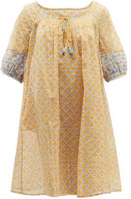 Thierry Colson Eva Geometric-print Cotton-blend Dress - Blue Multi