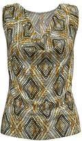 Bella Flore Women's Blouses BROWN - Brown & Black Geometric Sleeveless Cowl Neck Tunic - Women & Plus