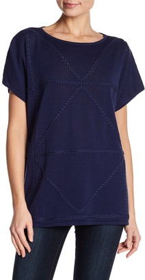 Joan Vass Braided Linen Blend Knit Poncho Top