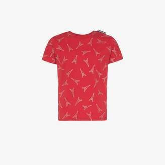 Balenciaga Crystal Stud Eiffel Tower Embellished Cotton T-shirt
