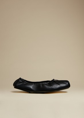 KHAITE The Ashland Ballet Flat in Black Leather