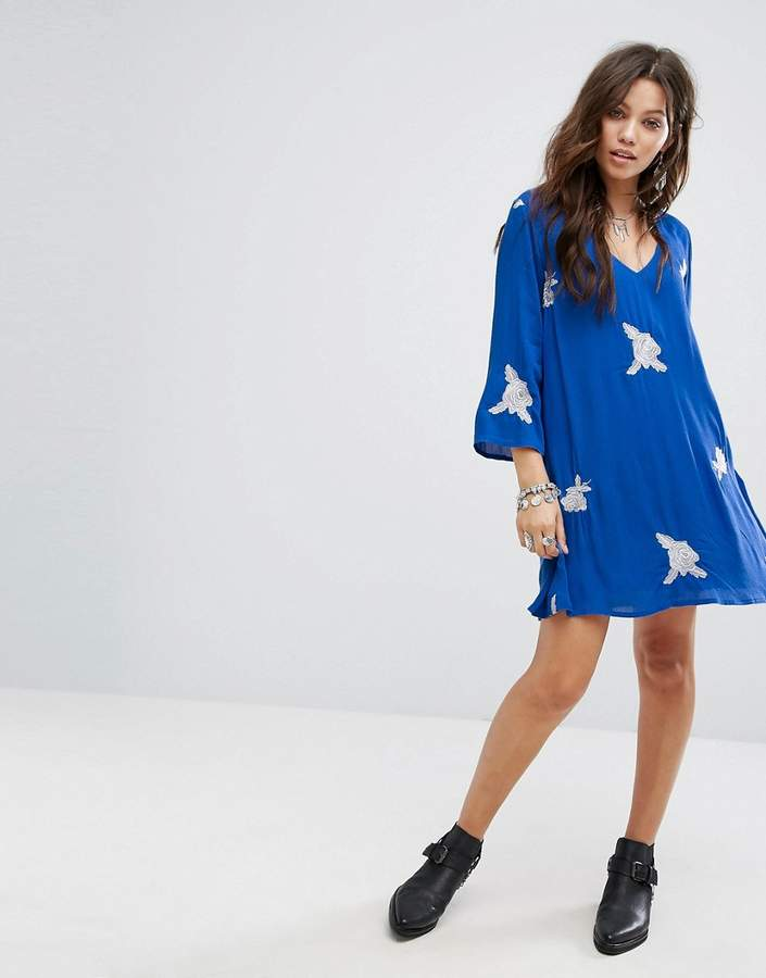 Honey Punch Festival Swing Dress With All Over Embroidery