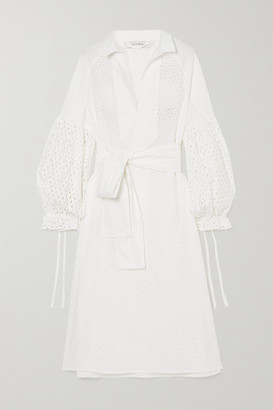 MUNTHE Belted Broderie Anglaise Cotton Dress - White