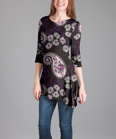 Lily Black & Pink Floral Paisley Sidetail Tunic - Plus Too