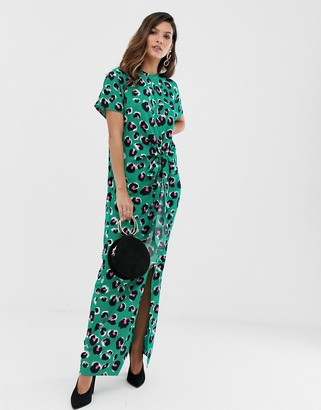 Liquorish thigh split maxi dress in green leopard