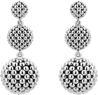 Lagos Caviar Graduated Triple Drop Earrings