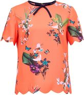 Ted Baker Syndi Tropical Oasis Bow And Scallop Detail Top