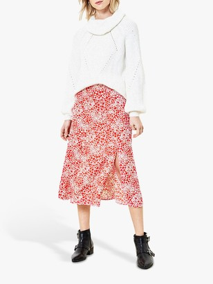 Oasis Heart Print Midi Skirt, Red/Multi