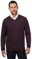 J By Jasper Conran Big And Tall Dark Purple Merino Wool V Neck Jumper