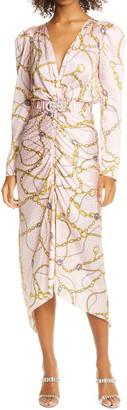 Ronny Kobo Astrid Chain Print Long Sleeve Silk Blend Jacquard Midi Dress