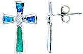Silver Cross Yellow Gold, Inc. Women's Earrings RHODIUM - Blue Opal & Sterling Stud Earrings