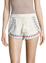 Red Carter Lemon Embroidered Shorts