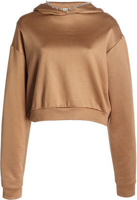 Area Crystal-Embellished Cropped Stretch-Cotton Hoodie