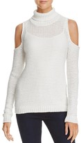 Aqua Turtleneck Cold Shoulder Sweater