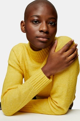 Topshop Womens Yellow Boxy Cropped Knitted Jumper - Yellow
