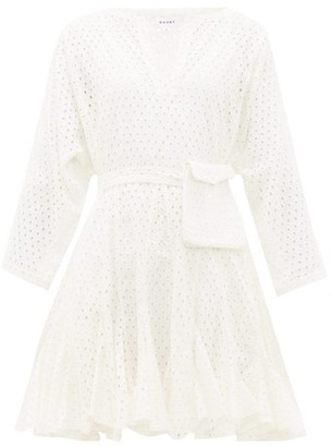 Rhode Resort Ryan Waist-pouch Broderie-anglaise Mini Dress - White