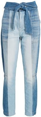 JONATHAN SIMKHAI STANDARD Paisley Tie-Waist Straight-Leg Jeans