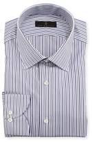Ike Behar Gold Label Striped Cotton Dress Shirt, Purple/Gray