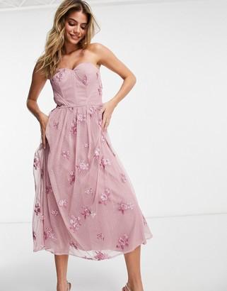 Chi Chi London 3d floral off shoulder prom dress in mink