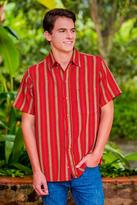 Men's Short Sleeve Red Striped Cotton Shirt from Guatemala, 'Volcano of Fire'