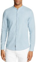 Michael Kors Banded Collar Denim Slim Fit Button-Down Shirt