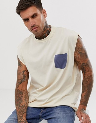 BEIGE Asos Design ASOS DESIGN oversized sleeveless t-shirt with contrast pocket in