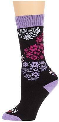 Hot Chillys Kids Heart Flurrry Mid Volume Sock (Toddler/Little Kid/Big Kid) (Heart Flurries Black) Girls Shoes