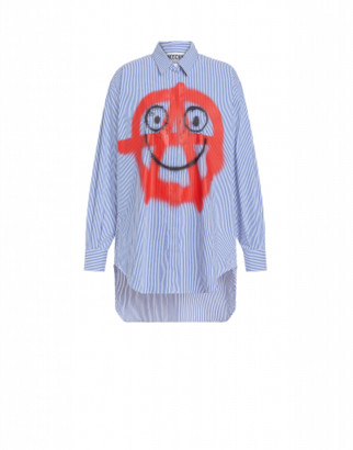 Moschino Spray Print Poplin Shirt Woman Blue Size 36 It - (2 Us)