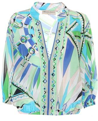 Emilio Pucci Beach Printed cotton and silk top