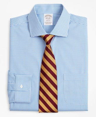 Brooks Brothers Stretch Soho Extra-Slim-Fit Dress Shirt, Non-Iron Poplin English Collar Gingham