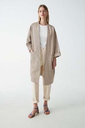 Cos Cotton-Linen Jacket With Draped Front