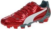 Puma Men's Evopower 4.2 Graphic FG Soccer Shoe, High Risk Red/White/Sea Pine, 9 M US