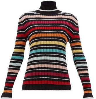 Mary Katrantzou Striped Lame Roll-neck Sweater - Black Multi