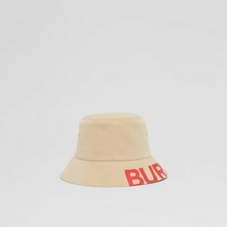 Burberry Reversibe ogo Print Cotton Gabardine Bucket Hat