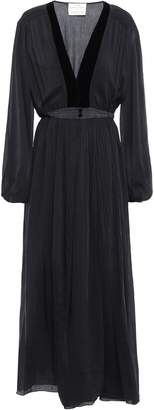 Forte Forte Forte_forte Gathered Velvet-trimmed Cotton And Silk-blend Maxi Dress