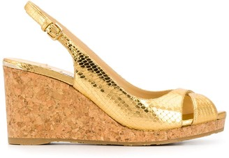 Jimmy Choo Amely 80mm snake-effect metallic wedges