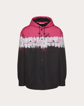 Valentino Hooded Peacoat With Jelly Block Print Man Neon Pink Camouflage Polyester 100% 44