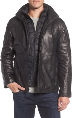 Andrew Marc Hartz Leather Jacket with Quilted Bib