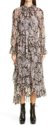 Zimmermann Ladybeetle Long Sleeve Ruffled Midi Dress